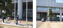 新潟県庁(スキッドレス防滑工事施行中)